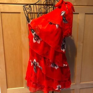 WHBM red floral with ruffles one shoulder Top